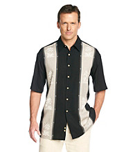 Paradise Collection® Men's Midnight Black Short Sleeve Panel Print Rayon Woven Shirt