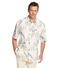 Paradise Collection® Men's Basic Cream Short Sleeve Leaf Print Woven Shirt