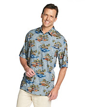 Paradise Collection® Men's Persian Blue Rain Short Sleeve Conversational Print Woven Shirt