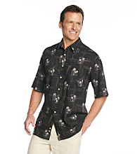Paradise Collection® Men's Midnight Black Short Sleeve Batik Print Woven Shirt