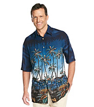 Paradise Collection®Men's Navy Seal Short Sleeve Border Print Woven Shirt