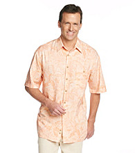 Paradise Collection® Men's Topaz Melon Blast Short Sleeve Tonal Print Woven Shirt