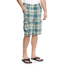Ruff Hewn Men's Washed Teal Plaid Cargo Short