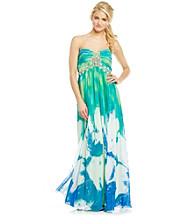 Cachet® Strapless Long Printed Dress