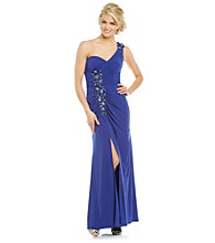 Xscape One Shoulder Jeweled Long Dress