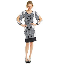 R & M Richards® Mirror Print Belted Knit Dress