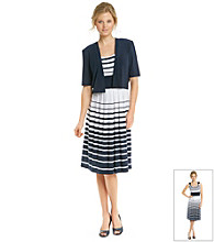 R & M Richards® Stripe Knit Jacket Dress