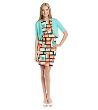 AGB® Print Sheath Dress with Sweater