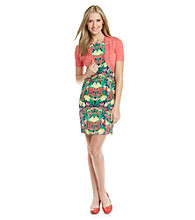 AGB® Print Sheath Dress with Crochet Trim Sweater