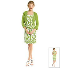 Jessica Howard® Retro Print Sheath Dress with Sweater