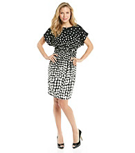 Jessica Howard® Dolman Sleeve Blouson Dot Print Knit Dress
