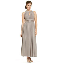 R & M Richards® Beaded Waist Long Knit Dress