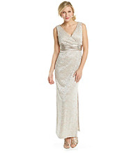 R & M Richards® Surplice Long Lace Dress