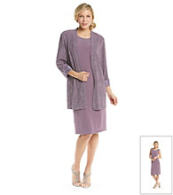 R & M Richards® Sparkle Knit Jacket Dress