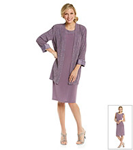 R & M Richards® Petites' Sparkle Knit Jacket Dress