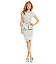 S.L. Fashions Lace Peplum Belted Dress