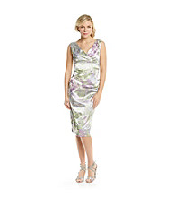 London Times® Surplice Floral Sheath Dress