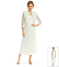R & M Richards® Petites' Sequin Lace Crepe Jacket Dress