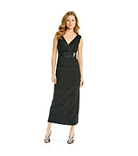 R & M Richards® Petites' Surplice Long Lace Dress