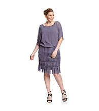 S.L. Fashions Plus Size Dolman Sleeve Ruched Tier Dress