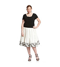 S.L. Fashions Plus Size Drapeneck Applique Party Dress