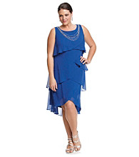 S.L. Fashions Plus Size Tulip Tier Dress with Necklace