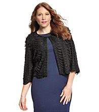 R & M Richards® Plus Sizescallop Ruffle Shrug