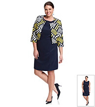AGB® Plus Size Print Jacket Dress