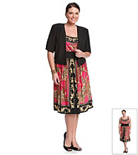 R & M Richards Plus Size Knit Print Jacket Dress