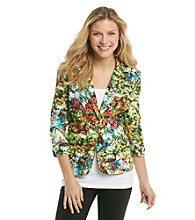NY Collection Cotton Sateen Printed Jacket