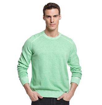 Calvin Klein Jeans® Men's Vivid Green Dyed Acid Wash Sweater