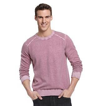 Calvin Klein Jeans® Men's Deep Orchid Acid Wash Yarn-Dyed Lightweight Sweater