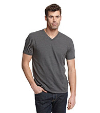 DKNY JEANS® Men's Dark Heather Grey Short Sleeve V-Neck Polished Jersey Graphic Tee