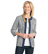 Alfred Dunner® Collarless Open Front Jacket