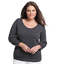 Anne Klein® Plus Size Metallic Scoopneck Pullover
