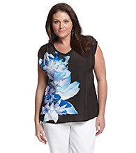 DKNY JEANS® Plus Size Paradise Floral Print Mixed Media Top