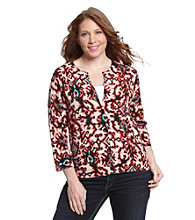 Jones New York Sport Plus Size Drop Button Cardigan