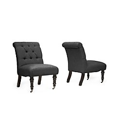 Baxton Studios Set of 2 Belden Linen Modern Slipper Chair