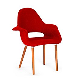 Baxton Studios Set of 2 Forza Red Twill Mid-Century Style Accent Chair