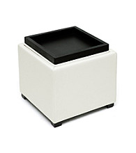 Baxton Studios Gaia Cream Leather Modern Storage Cube Ottoman