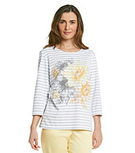 Alfred Dunner® Petites' City of Light Striped Top with Placed Print