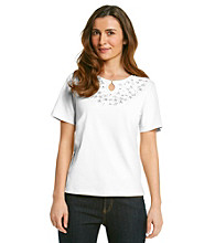 Alfred Dunner® Petites' City of Light Appliqued Keyhole Top
