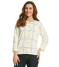 Alfred Dunner® Petites' City of Light Buttonfront Tile Print Sweater