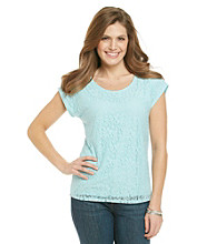 Notations® Petites' Lined Allover Lace Top
