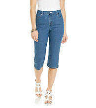 Gloria Vanderbilt® Petites' Denim Pin Dot Print Capri