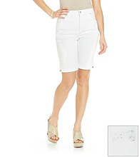 Gloria Vanderbilt® Petites' Blue Denim Bermuda with Embroidered Back Pocket