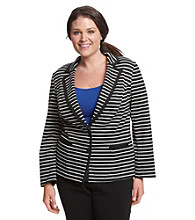 AGB® Plus Size Stripe Ponte Jacket