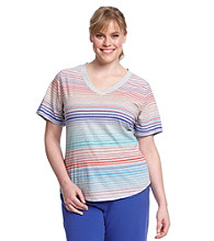 Gloria Vanderbilt Sport Plus Size Striped Tee
