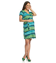 Three Seasons Maternity™ Short Sleeve Stripe Surplice Dress