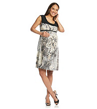 Three Seasons Maternity™ Sleeveless Print Dress With Solid Yoke